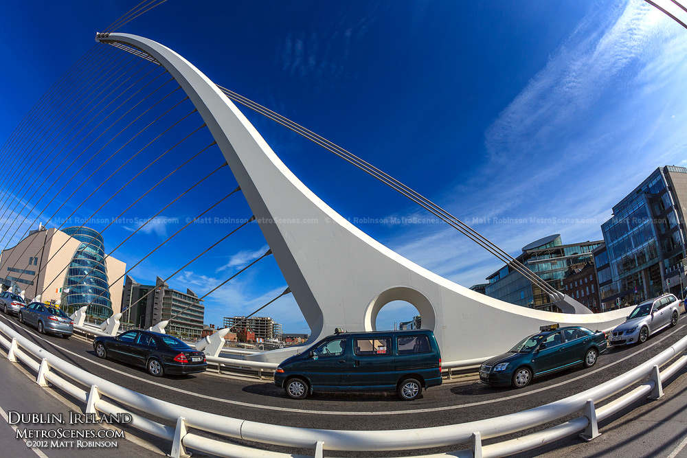 Fisheye of the Samuel Beckett Bridge