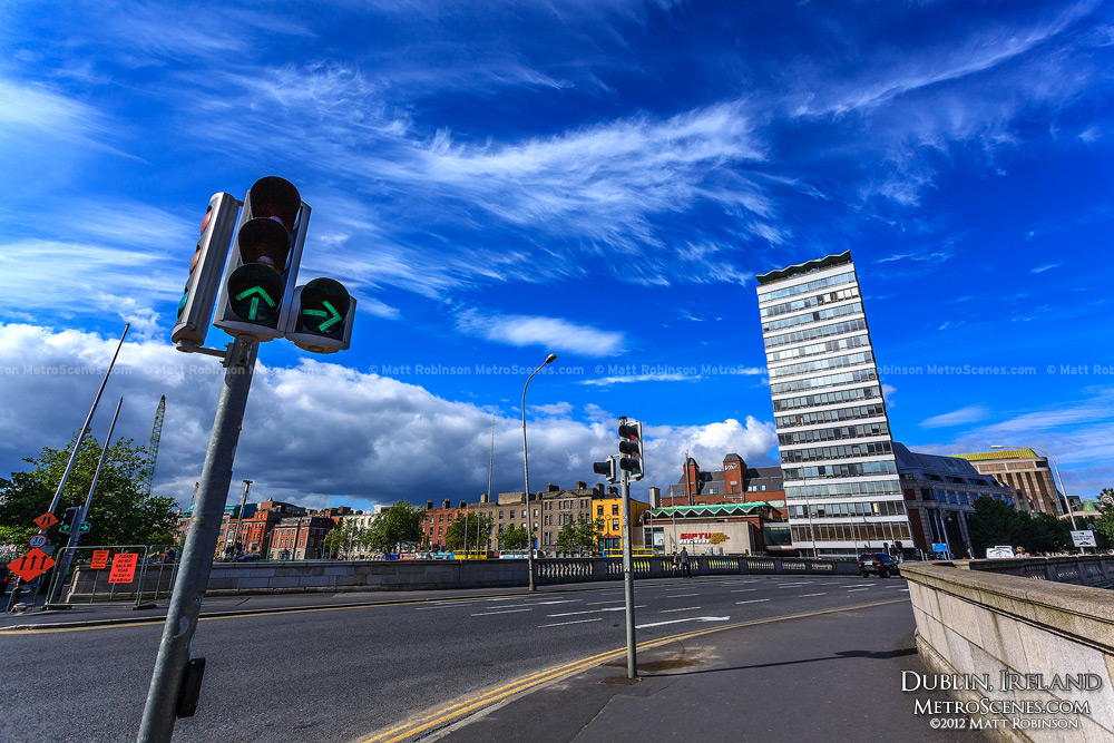 Dublin sky with traffic light