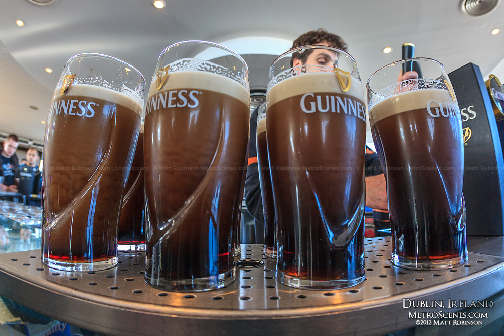 Pints of Guinness at the Gravity Bar