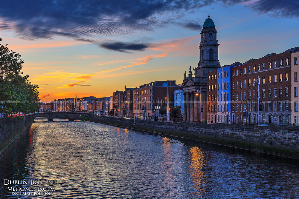 Sunset along the River Liffey