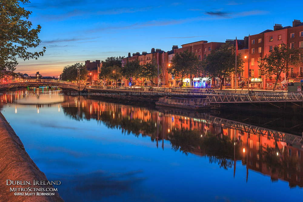 Dublin Ireland at Night Dublin's River Liffey at Night