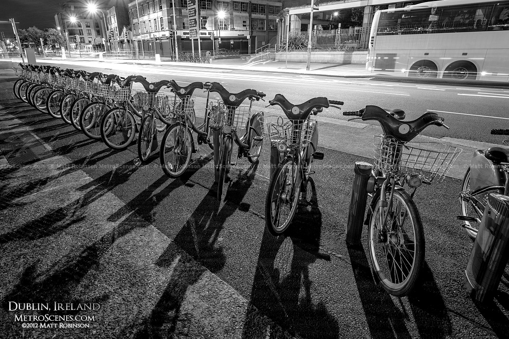 Dublin rental bikes with shadows