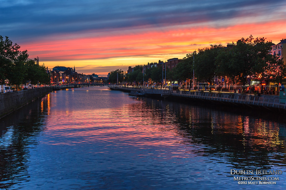 Sunset reflections in the River Liffey