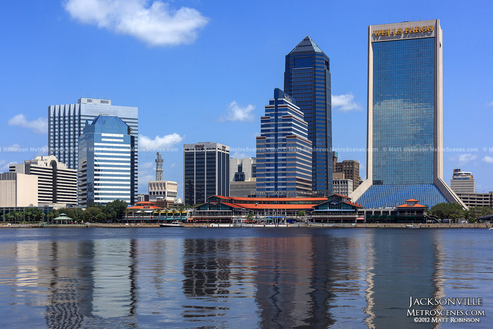 Jacksonville Florida reflects in the St. Johns River