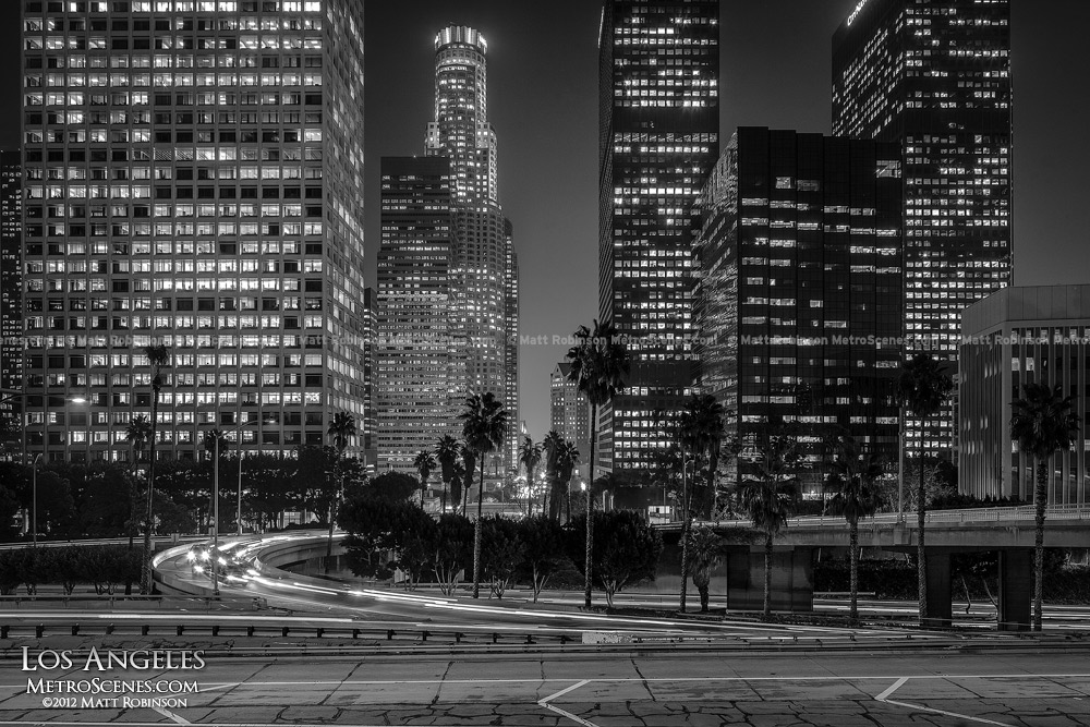 Black and White Los Angeles Skyline at night