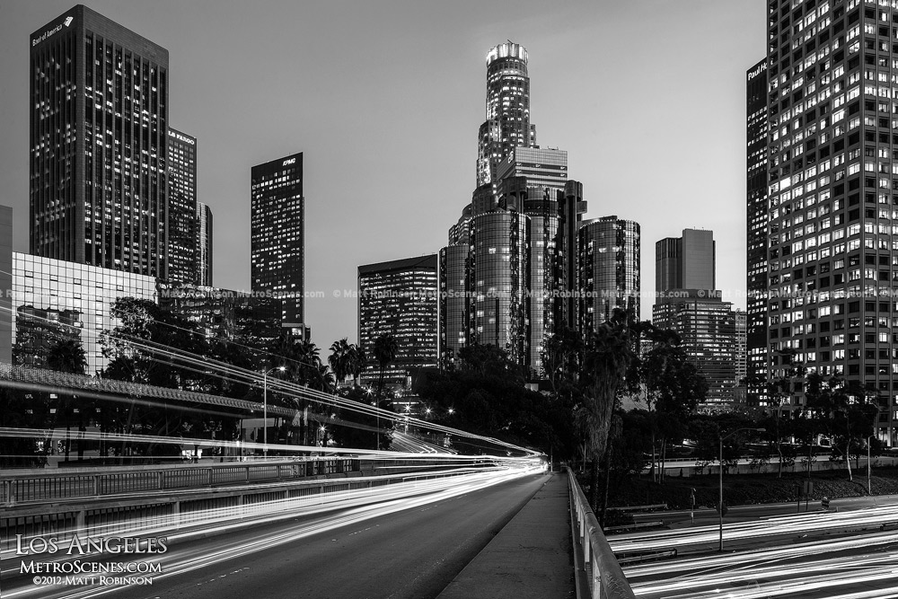 Los Angles Skyline Black and White at night