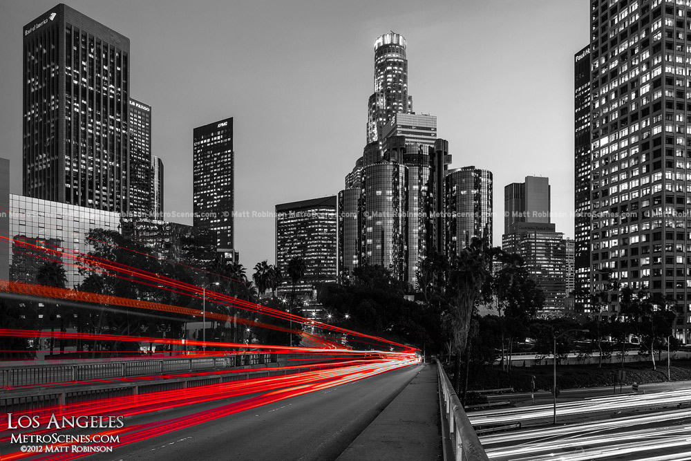 Black and White Los Angeles with Red Traffic
