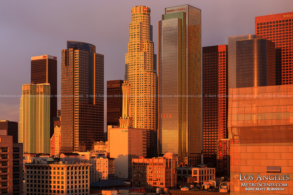 Early morning sunlight on Downtown Los Angeles
