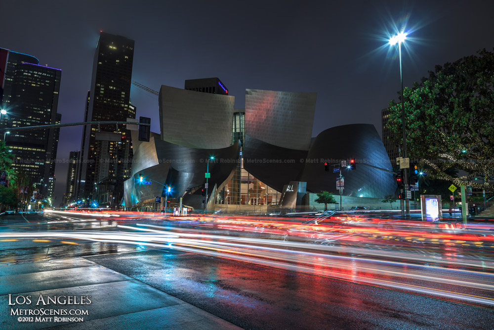 Walt Disney Concert Hall at night with traffic