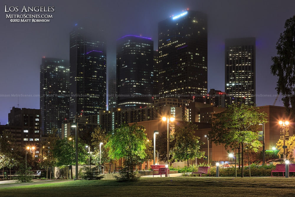 Downtown Los Angeles disappears into the night fog