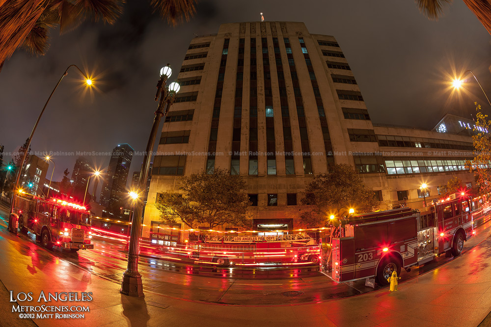 Firetruck surround The Los Angeles Time Building