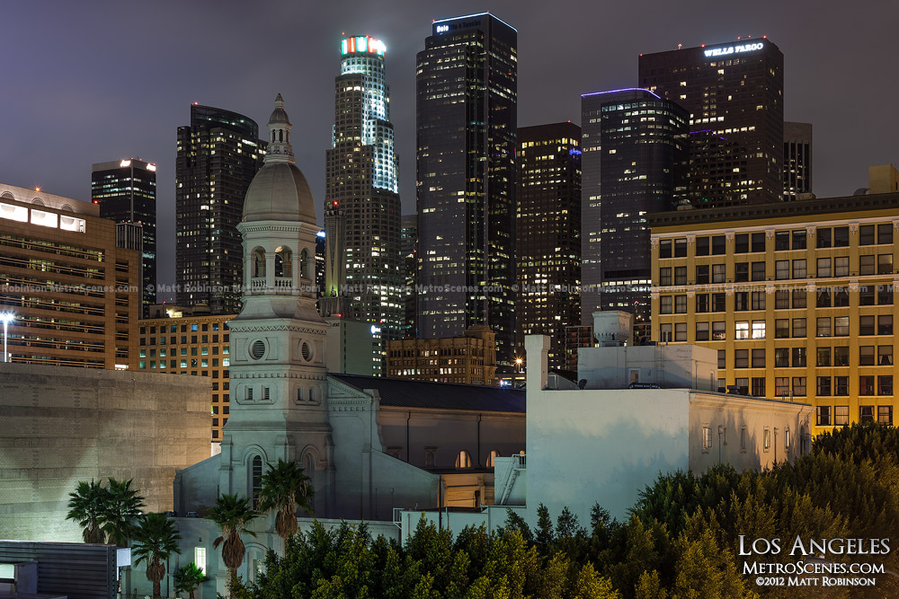 Los Angeles skyline at night from Kyoto Gardens