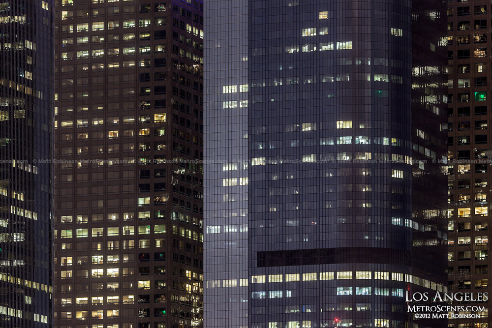 Office windows at night in Los Angeles