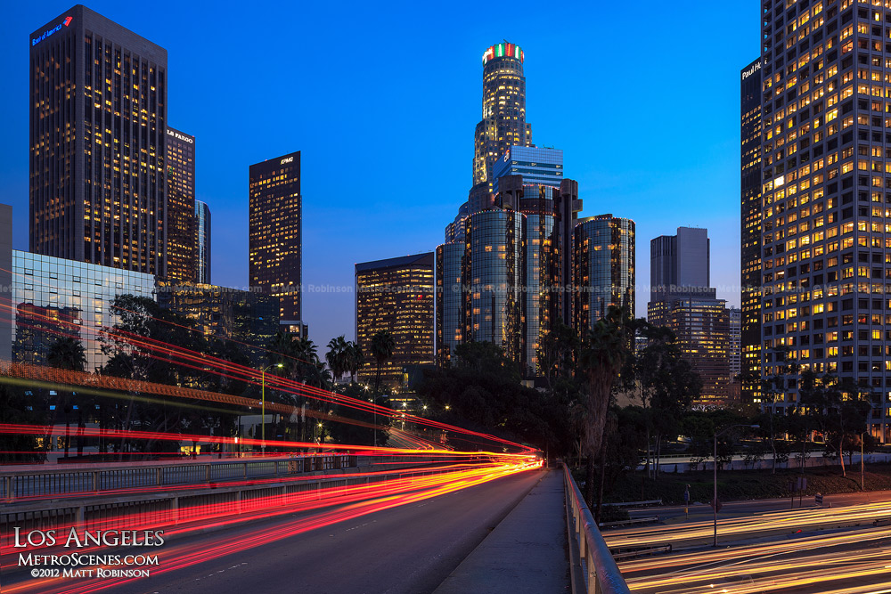 Los Angeles Skyline at night with traffic