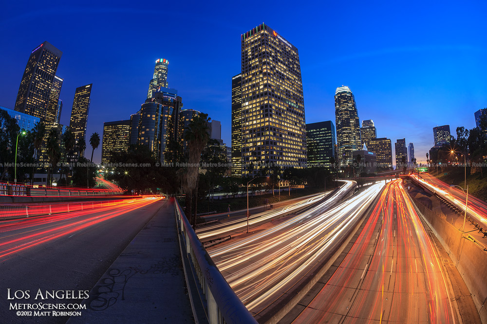 Los Angeles at night with traffic on the 4th Street Bridge over the 110