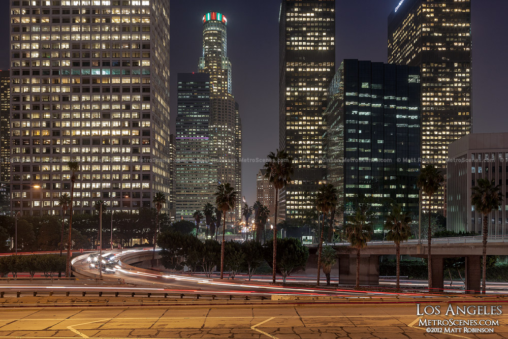 Los Angeles Buildings at night with the 110 Highway