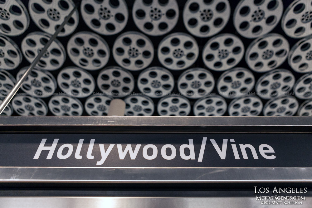 Hollywood and Vine Metro Station sign with Film Reels