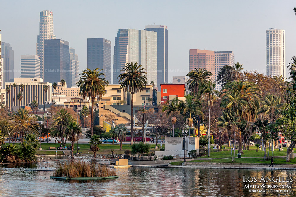 MacArthur Park Lake with Los Angeles