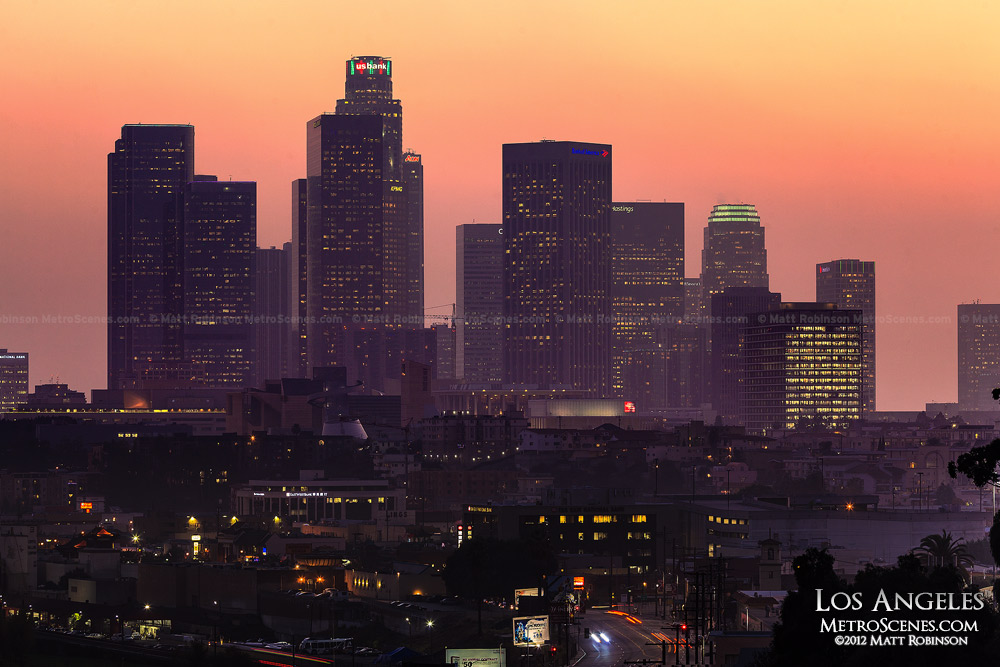 Los Angeles Skyline at Sunset from Buena Vista Meadows