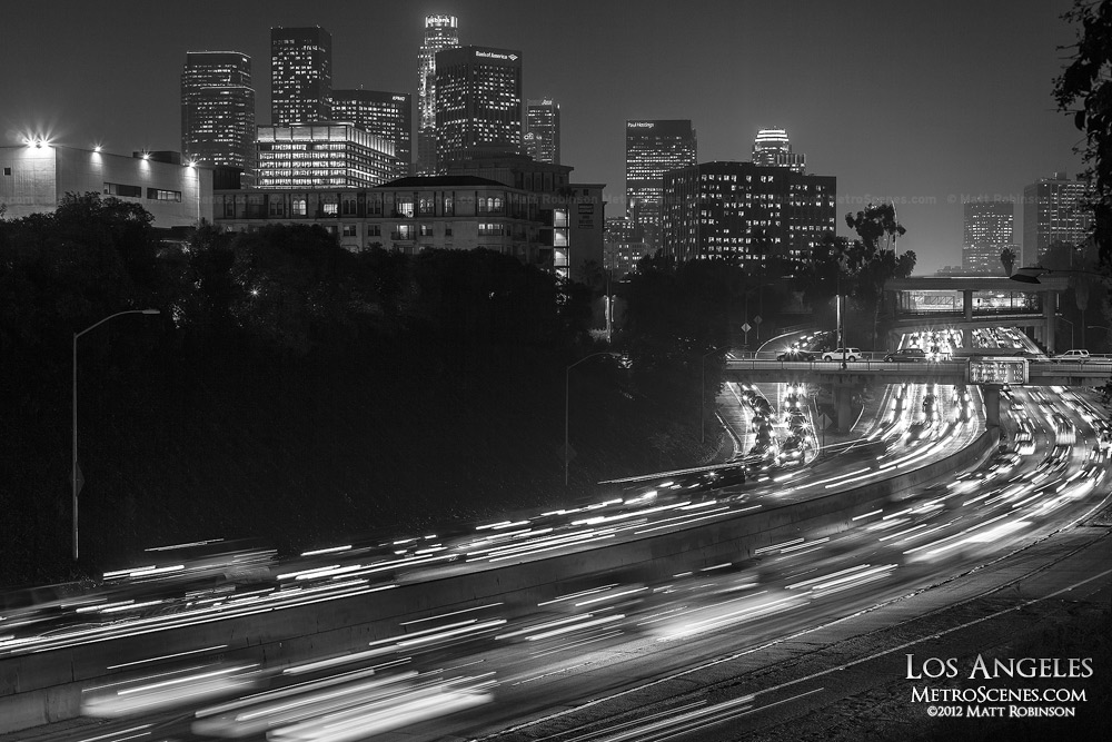Black and white Los Angeles Traffic
