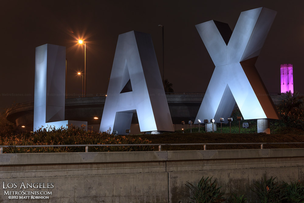 LAX sign at Los Angeles International Aiport