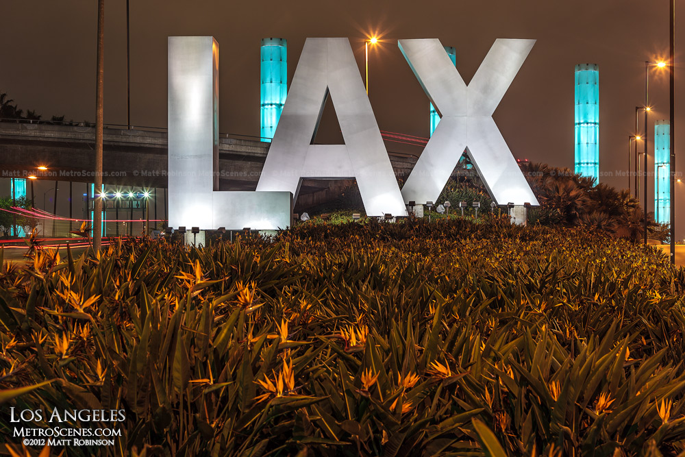 LAX Sign at night - Los Angeles International Airport