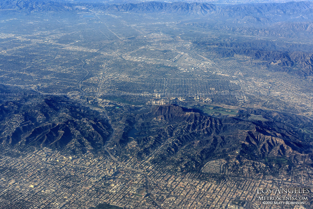 Aerial over Los Angeles and Burbank