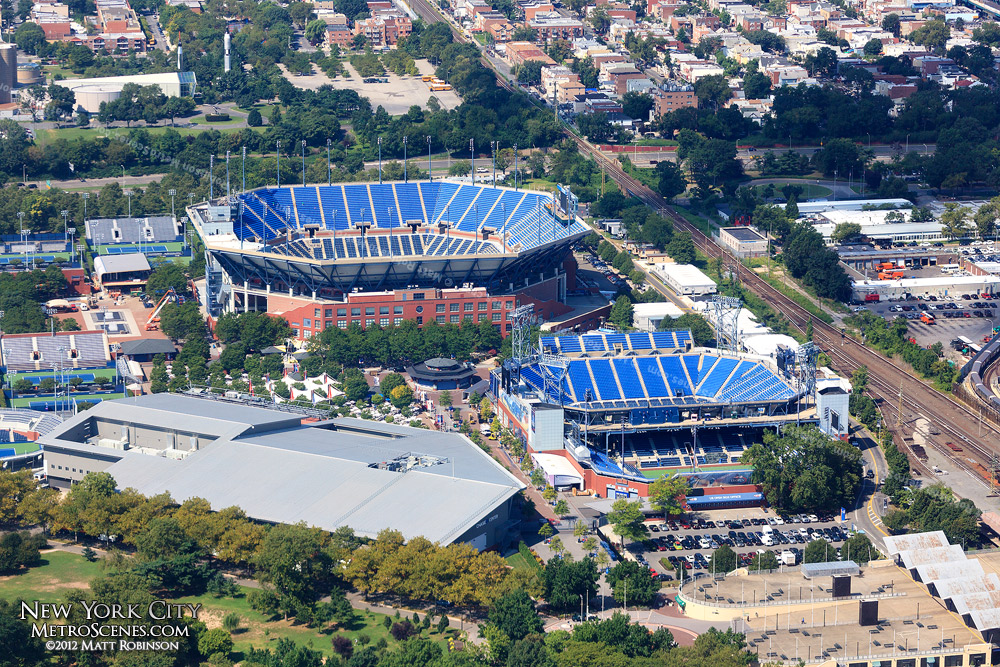 Aerial of Arthur Ashe Stadium in Flushing Meadows, NY