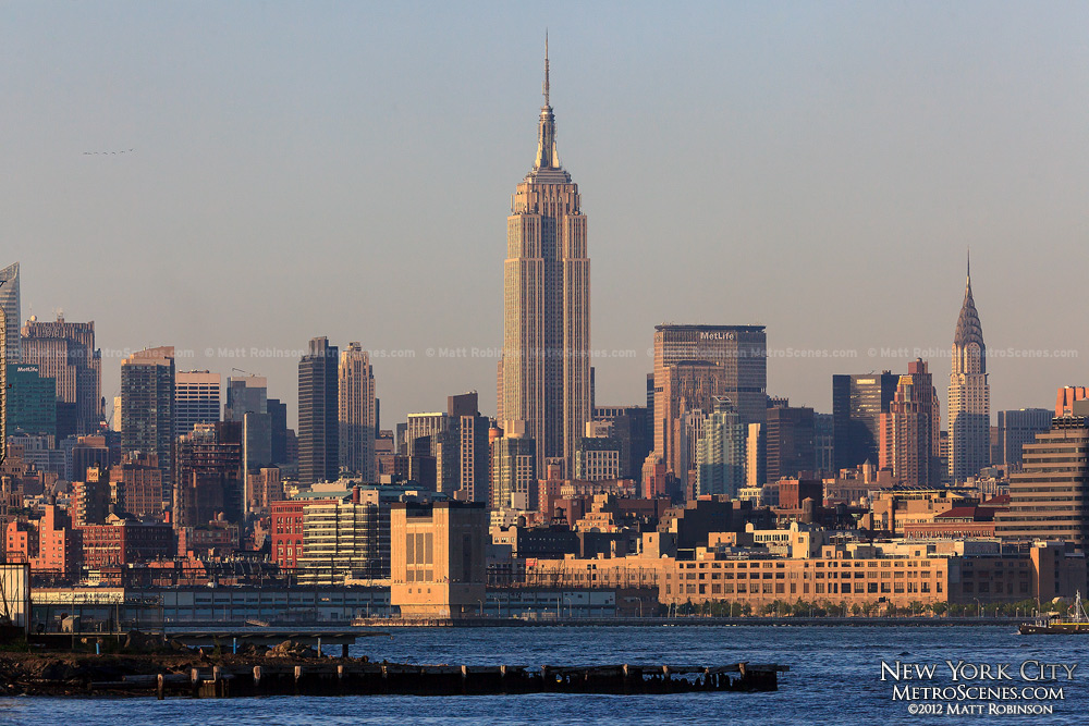 The mighty Empire State Building anchors Midtown Manhattan from Liberty State Park