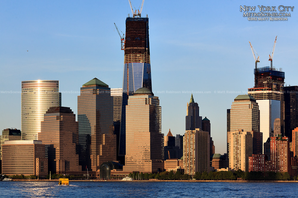 One World Trade Center Progress in 2012 nears topping out from Liberty State Park
