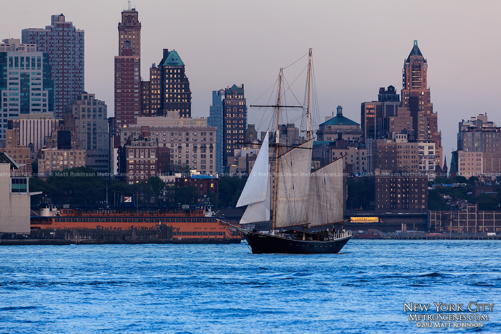 Brooklyn with large sailboat on the Hudson River