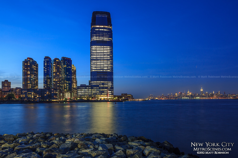 Goldman Sachs Tower at night in Jersey City, NJ