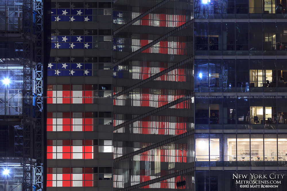 United States Flag reflections from 101 Barclay Street