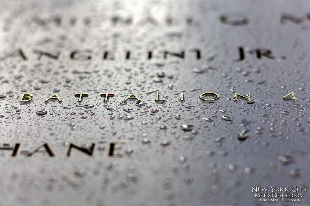 Drops of Rain on the 9/11 Memorial