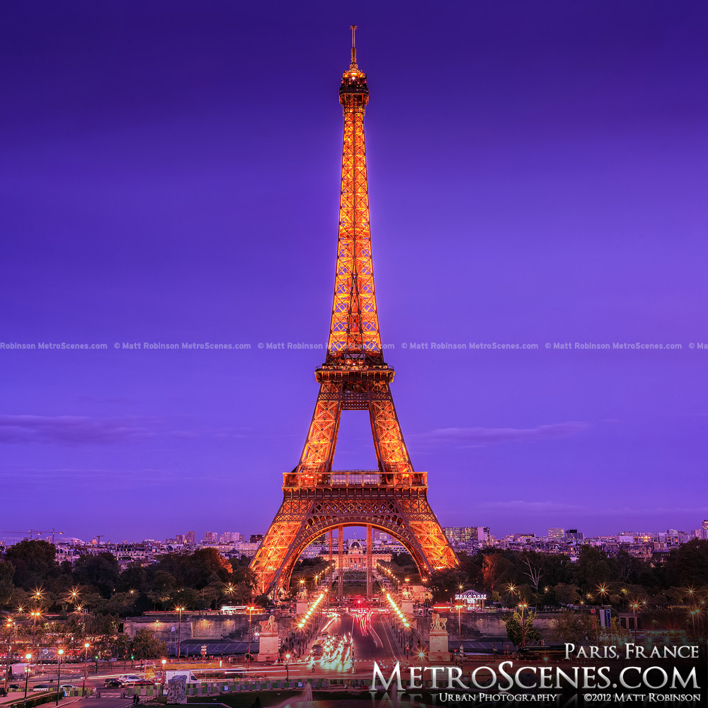 Pink and Purple hues over the Eiffel Tower in Paris, France