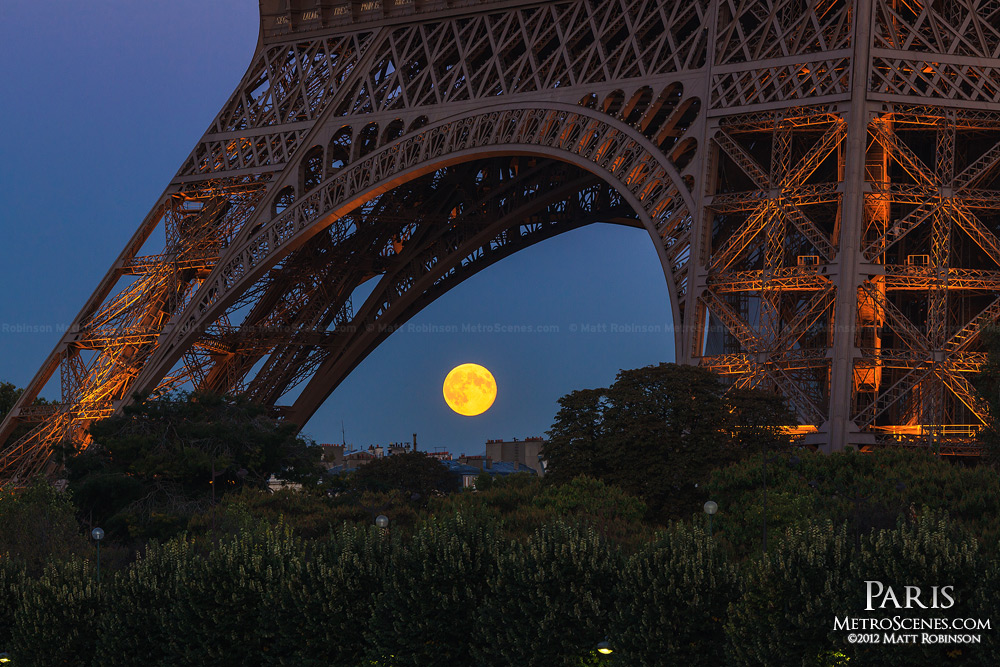 Moonrise under the Eiffel Tower