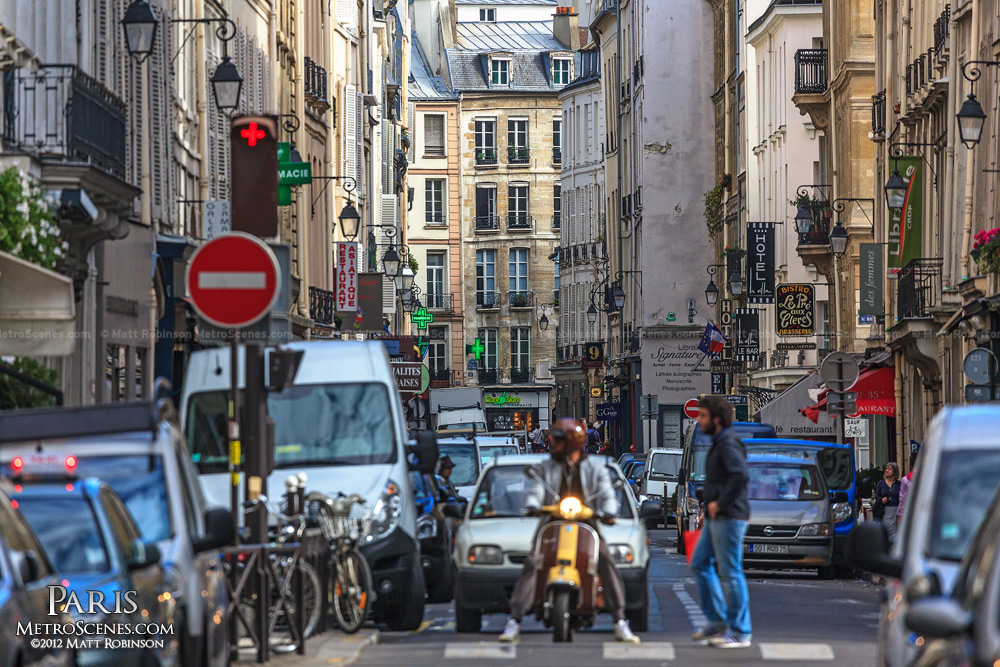 View down Rue Jacob, Paris