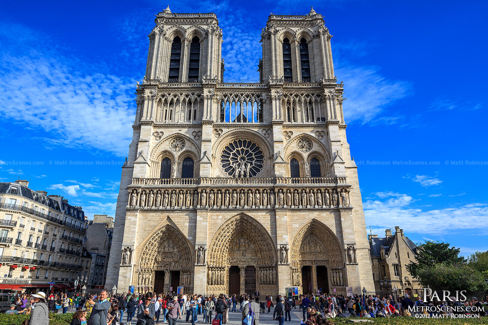 Sunlit Notre Dame Cathedral in Paris