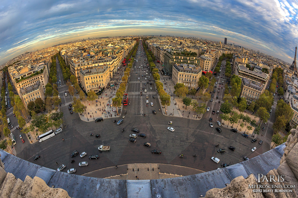 Avenues radiate from the Arc de Triophme