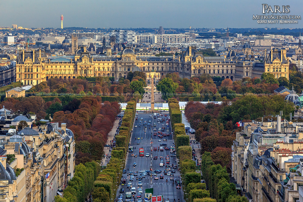 The Louvre Museum and Champs-Élysées from the Arc de Triophme
