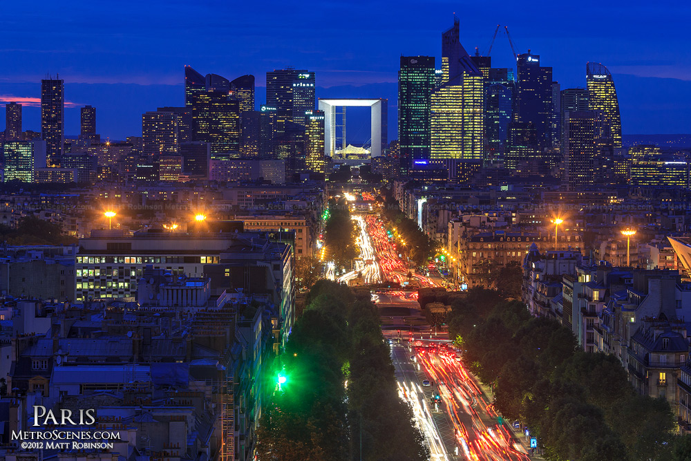 Skyline of La Défense at night