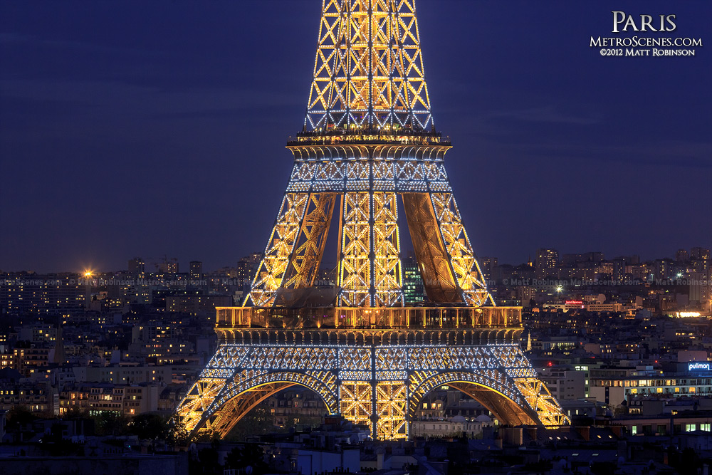 The Eiffel Tower twinkles on the hour