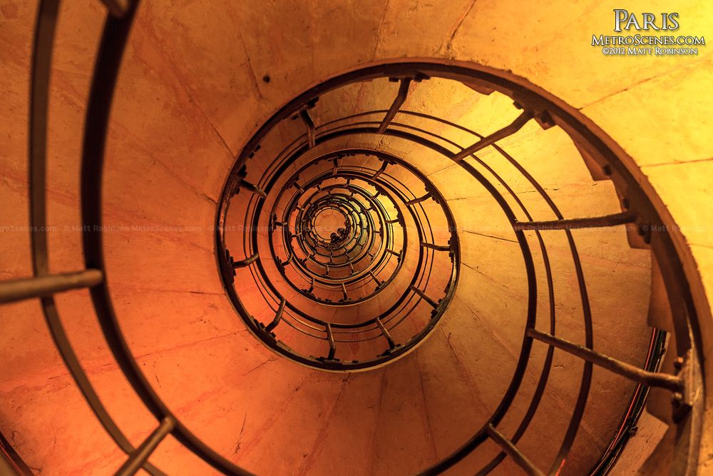 Spiral staircase inside the Arc de Triomphe