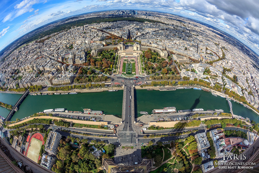 Fisheye view of Paris from the Eiffel Tower
