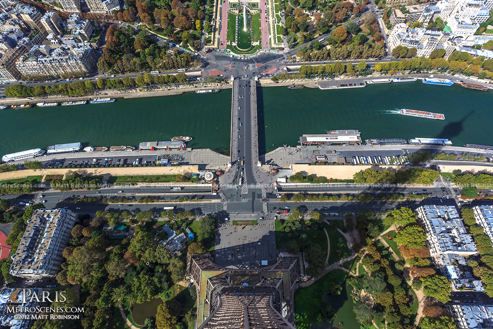 Looking straight down at the Eiffel Tower base
