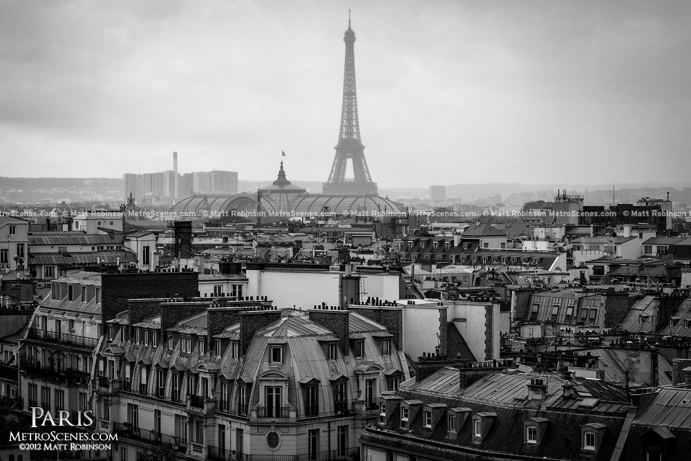 Black and white paris france scene