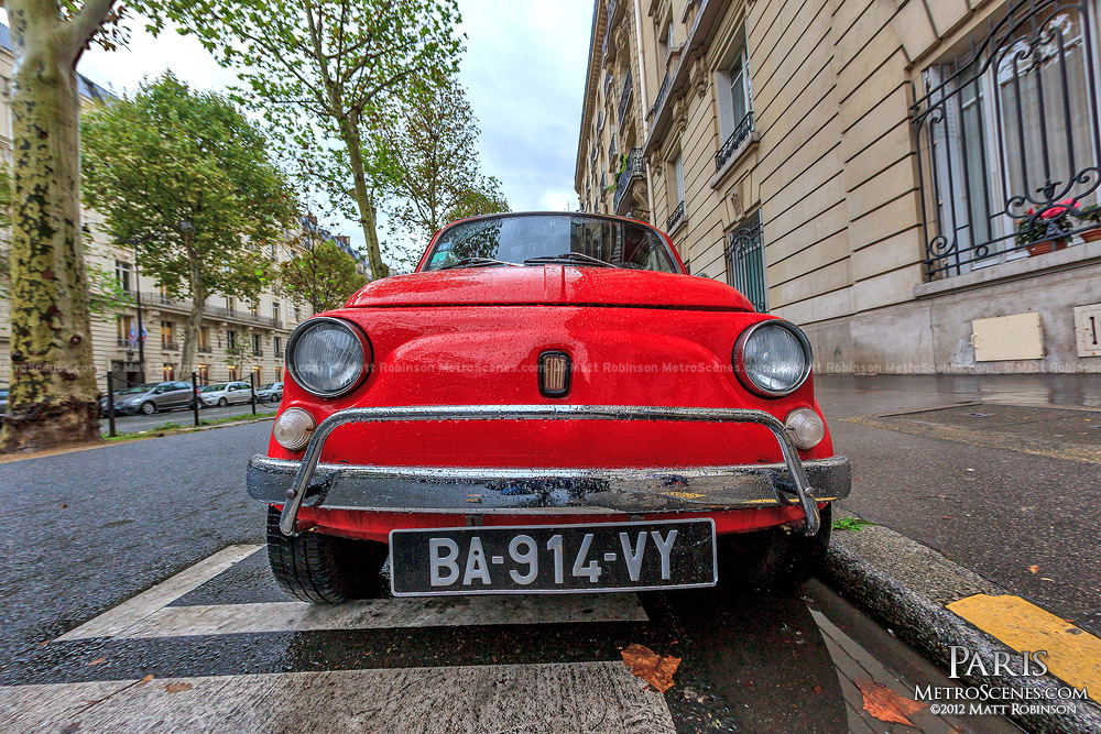 Tiny Red Fiat 500 in Paris
