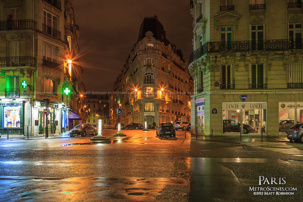 Rainy Paris night on Avenue Rapp