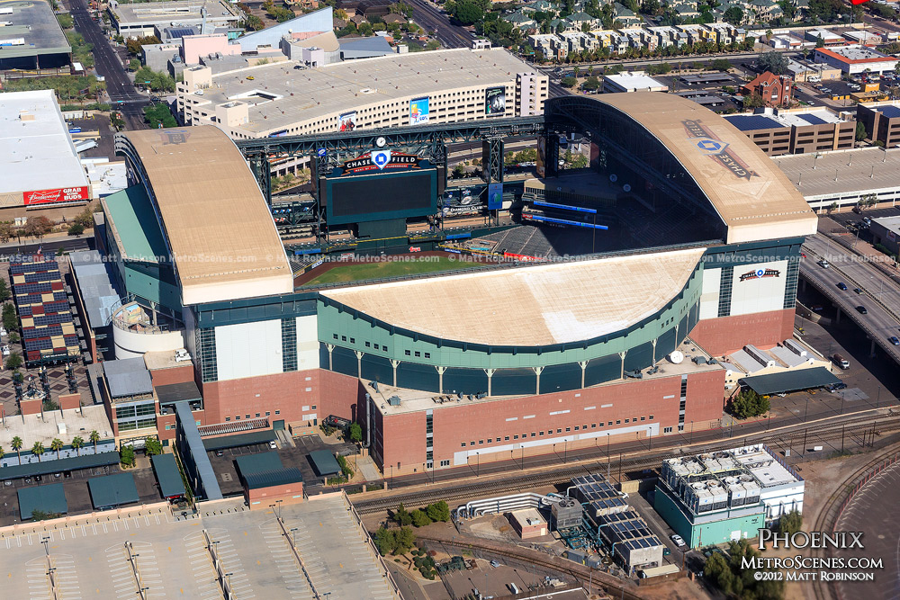 Arizona Diamondback's Chase Field Aerial in Phoenix