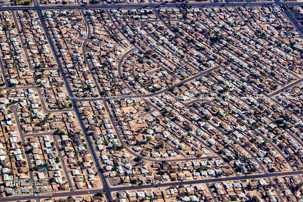 Aerial over Phoenix homes
